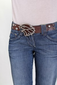 Coast Weber Ahaus Blue Distressed Jeans with Removable Belt / Size: 26 - Fit: XS / S